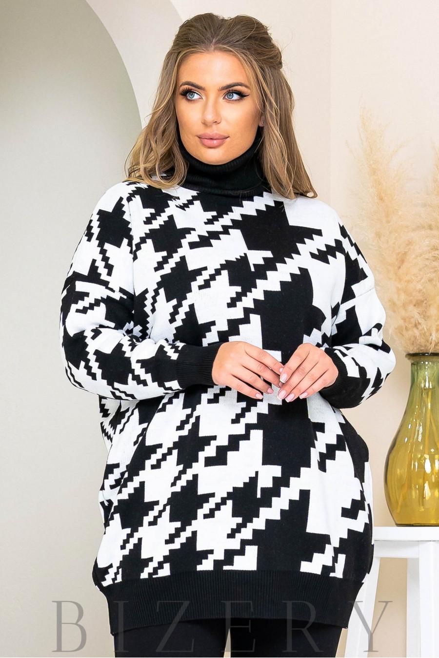 Трендовый свитер oversize в черном цвете B1167