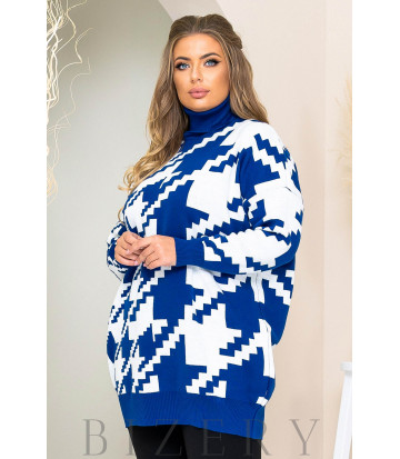 Трендовый свитер oversize в синий цвете B1169