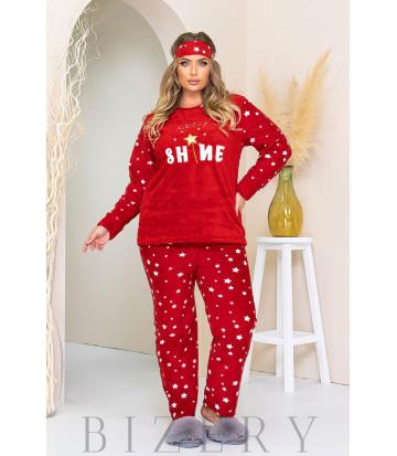 Уютный пижамный комплект в красном цвете B1178