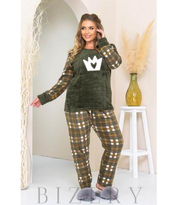 Уютный пижамный комплект в цвете хаки B1179