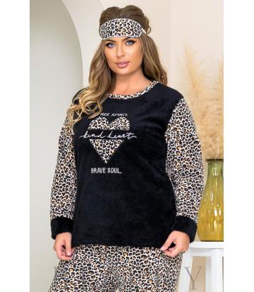 Уютный пижамный комплект в черном цвете леопардовый принт B1186