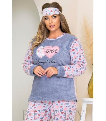 Уютный пижамный комплект в серо-голубом цвете B1183
