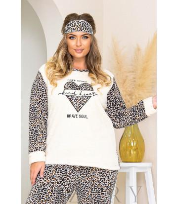 Уютный пижамный комплект в молочном цвете леопардовый принт B1187