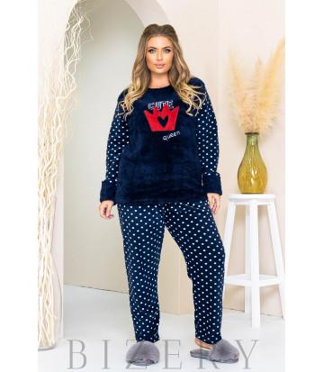 Уютный пижамный комплект в темно-синем цвете B1180