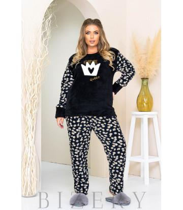 Уютный пижамный комплект в черном цвете B1181