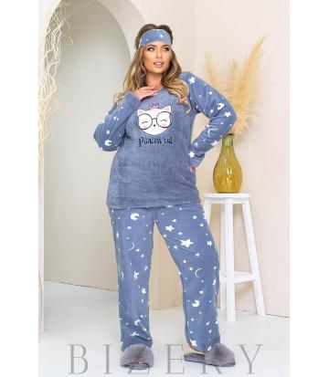 Уютный пижамный комплект в синем цвете B1182