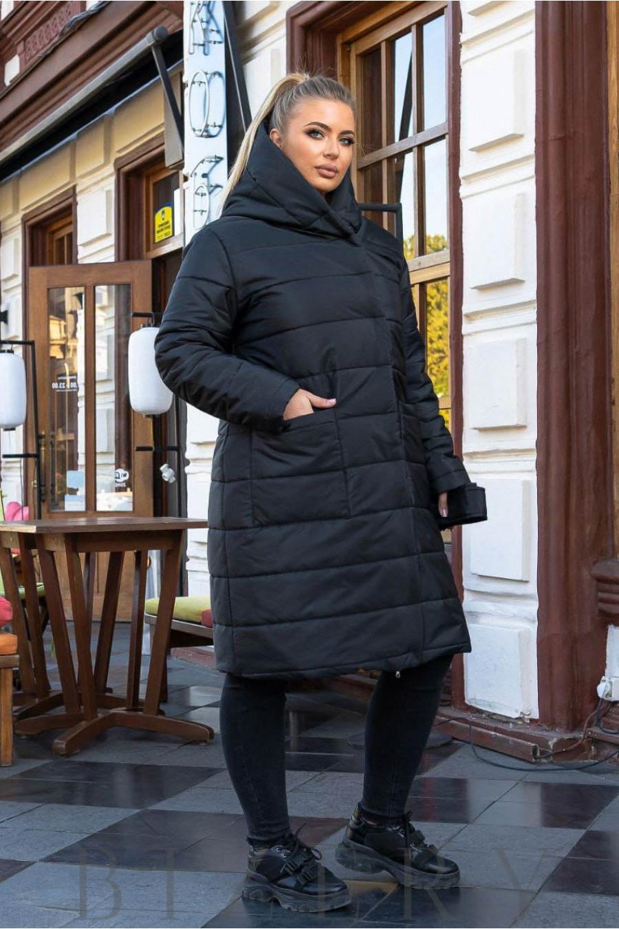 Зимнее пальто на овчине в черном цвете B1163