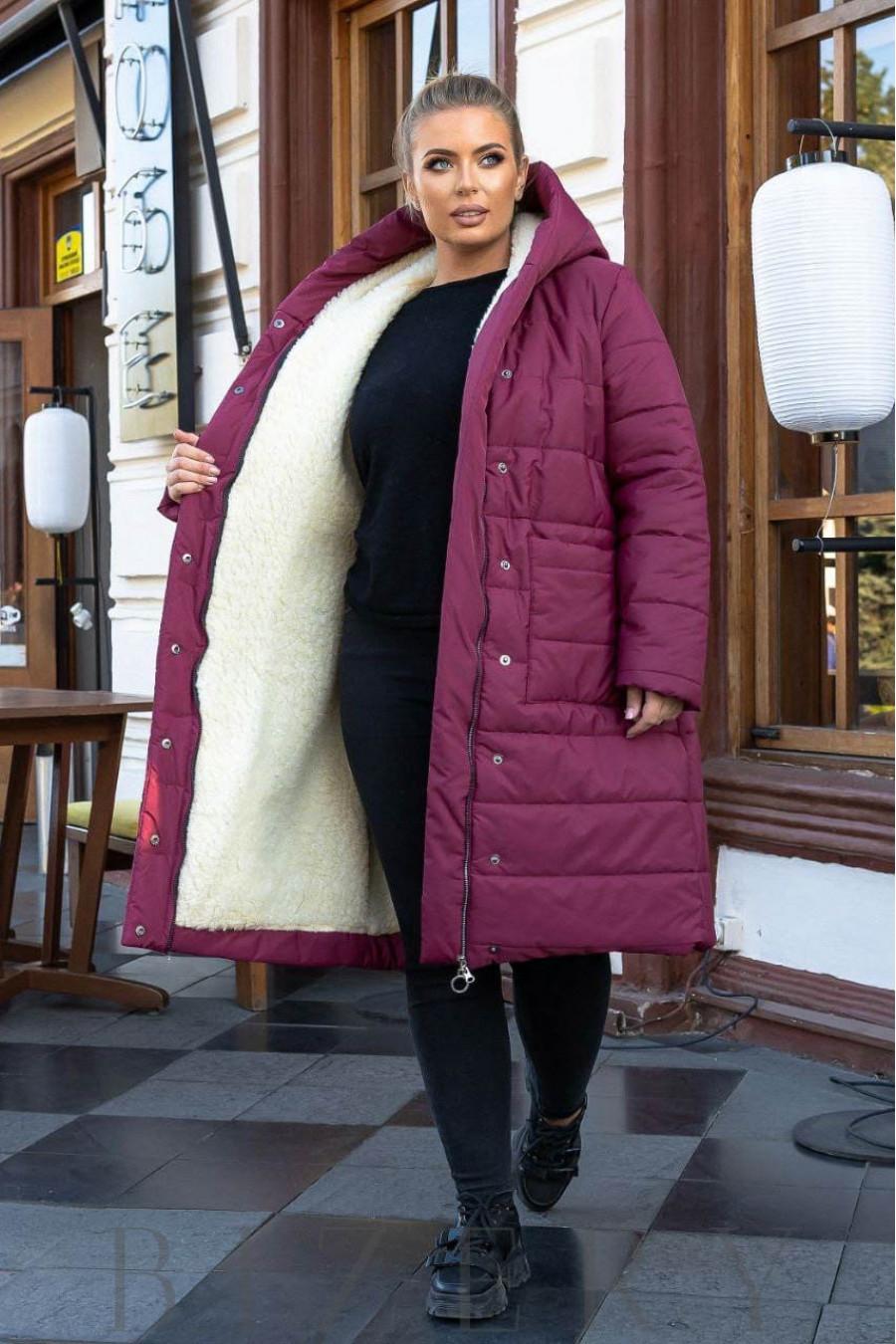 Зимнее пальто на овчине в цвете марсала B1164
