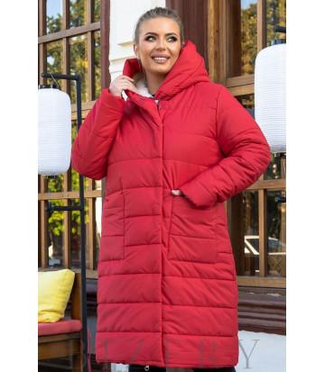 Зимнее пальто на овчине в красном цвете B1166