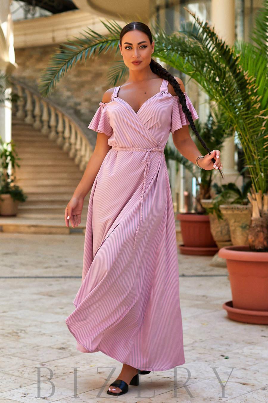 Летний сарафан на запах в розовую полоску В952