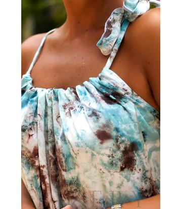 Сарафан свободного кроя в мраморной голубой расцветке В958