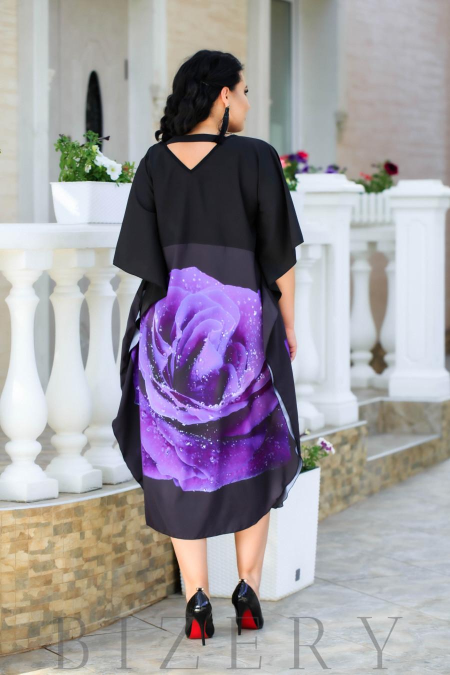 Платье свободного кроя фиолетовая роза В886
