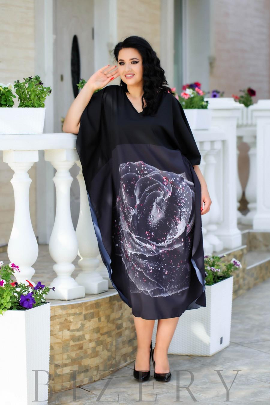 Платье свободного кроя черная роза В887