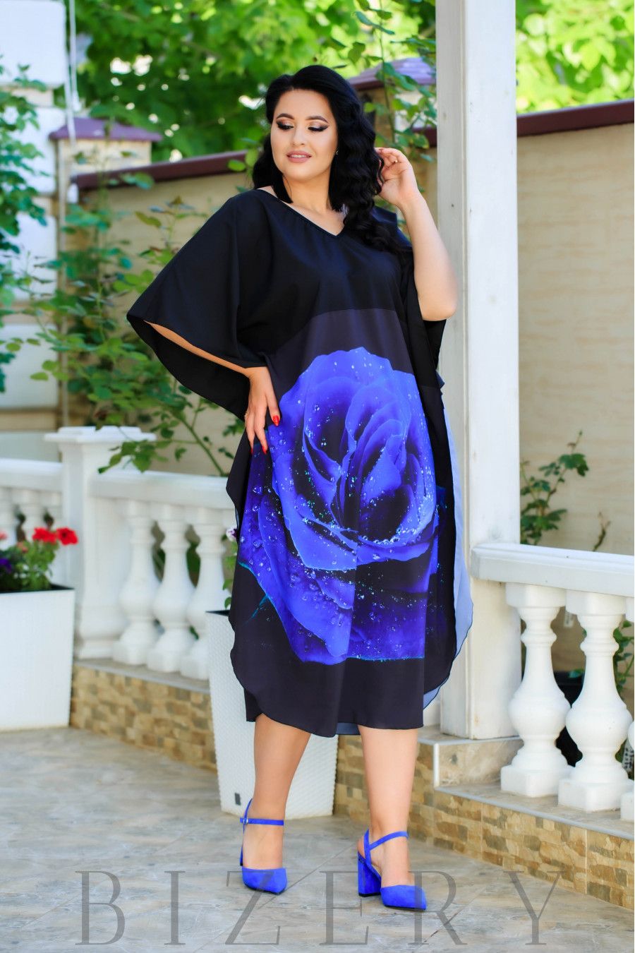 Платье свободного кроя синяя роза В888