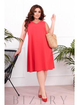 Летнее платье-сарафан цвет коралловый В896