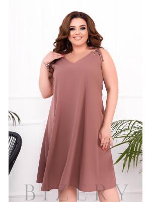 Летнее платье-сарафан цвет шоколад В898