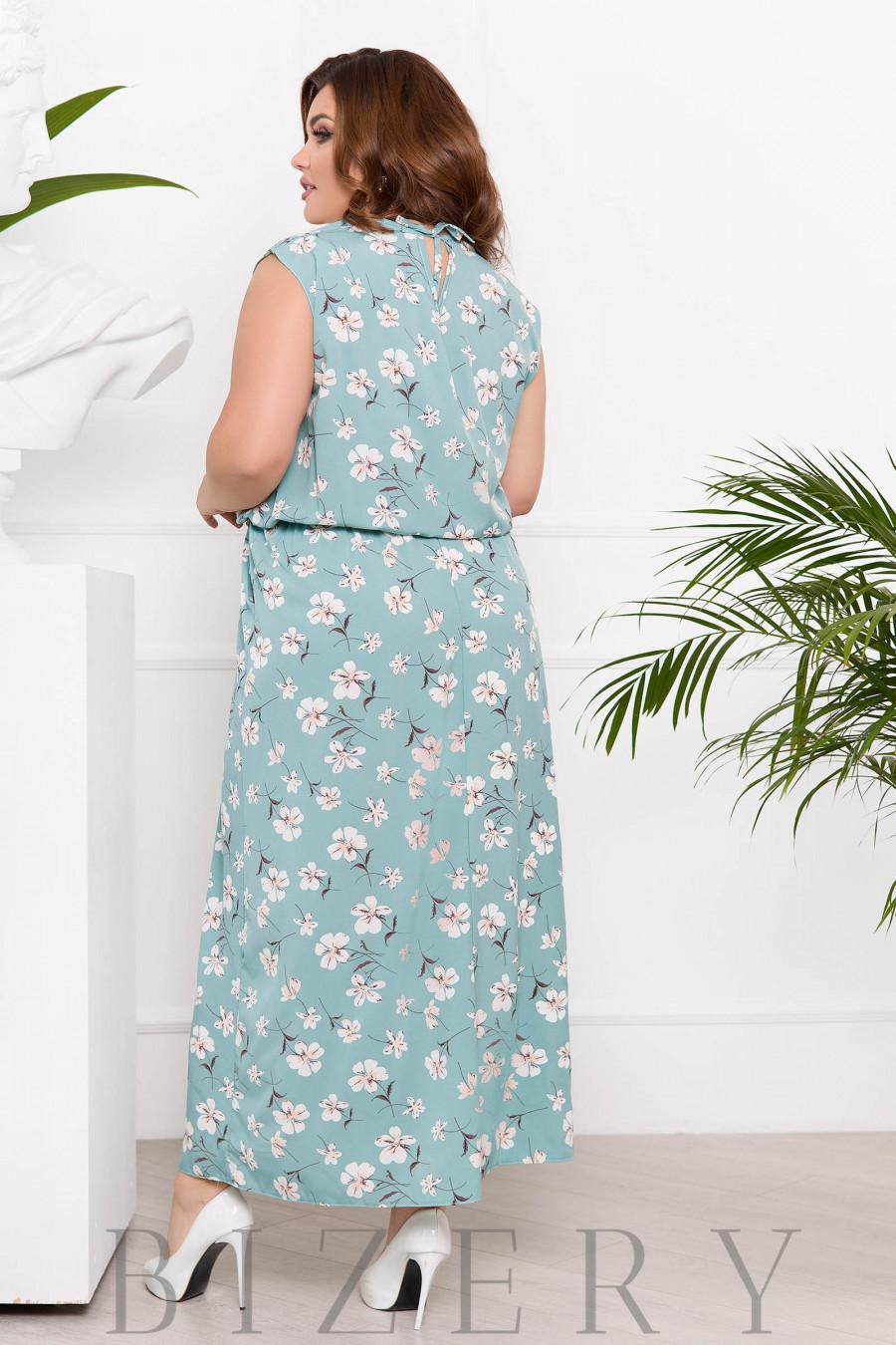 Летний сарафан в цветочный принт светлый серо-ментоловый цвет В926