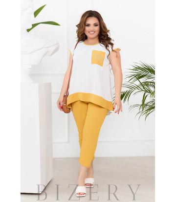 Летний повседневнй костюм цвет желтый В929