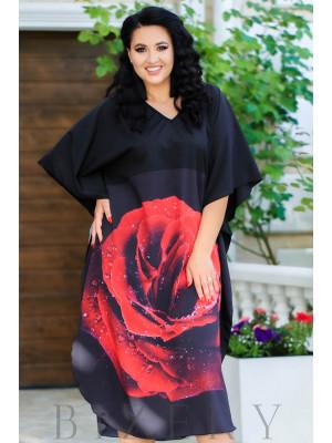 Платье свободного кроя красная роза В885