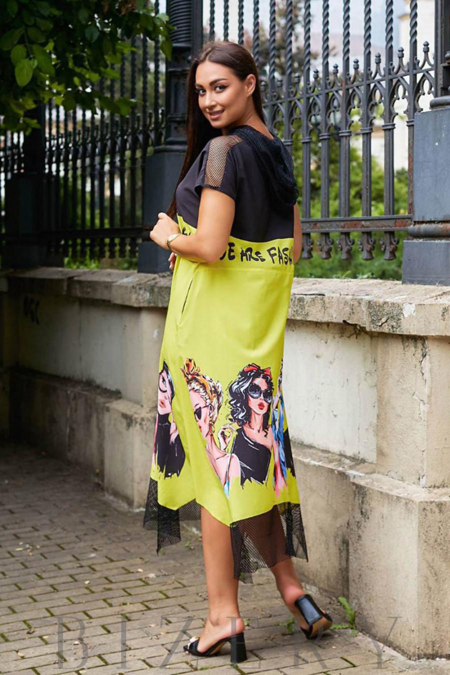 Летнее желтое платье свободного кроя с оригинальным принтом В967