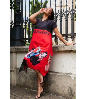 Летнее красное платье свободного кроя с оригинальным принтом В968