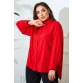 Блузка свободного кроя в красном цвете В825