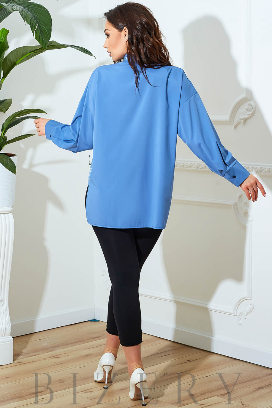 Блузка свободного кроя в джинсовом цвете В822