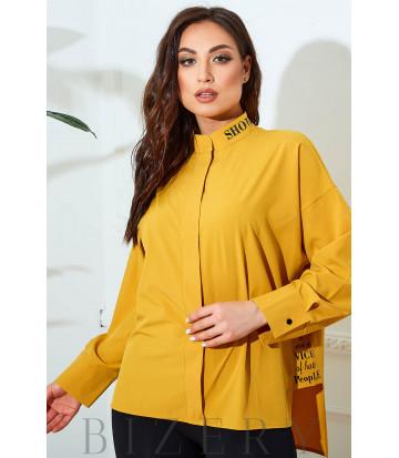 Блузка свободного кроя в желтом цвете В824