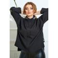 Блузка свободного кроя в черном цвете В826