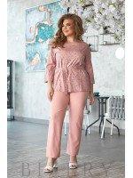 Повседневный летний костюм нежно-розового цвета В805