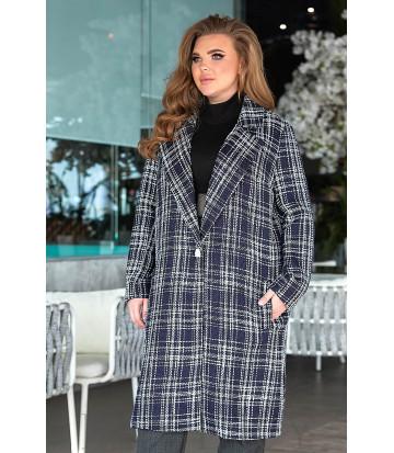 Твидовое пальто в сером цвете В815
