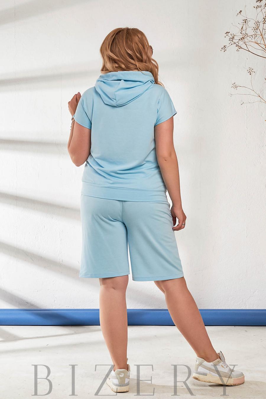 Летний костюм с шортами голубой В869