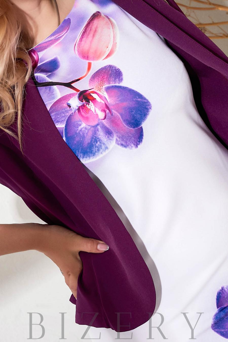 Элегантное платье-футляр с жакетом фуксия В880
