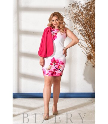 Элегантное платье-футляр с жакетом розовое В879