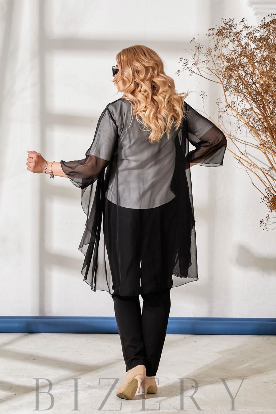Шикарный костюм тройка черный В882