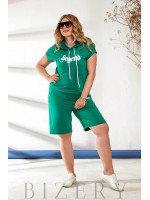Летний костюм с шортами зеленый В870