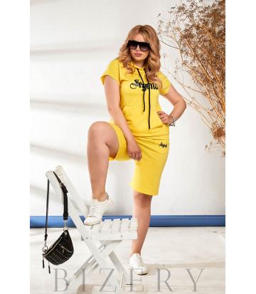 Летний костюм с шортами желтый В871