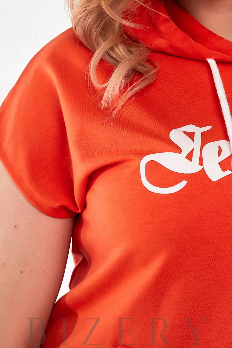 Летний костюм с шортами оранжевый В872