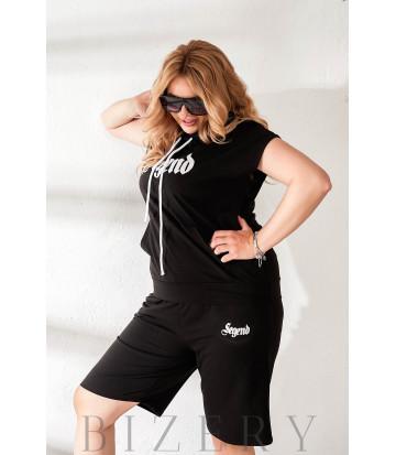 Летний костюм с шортами черный В875