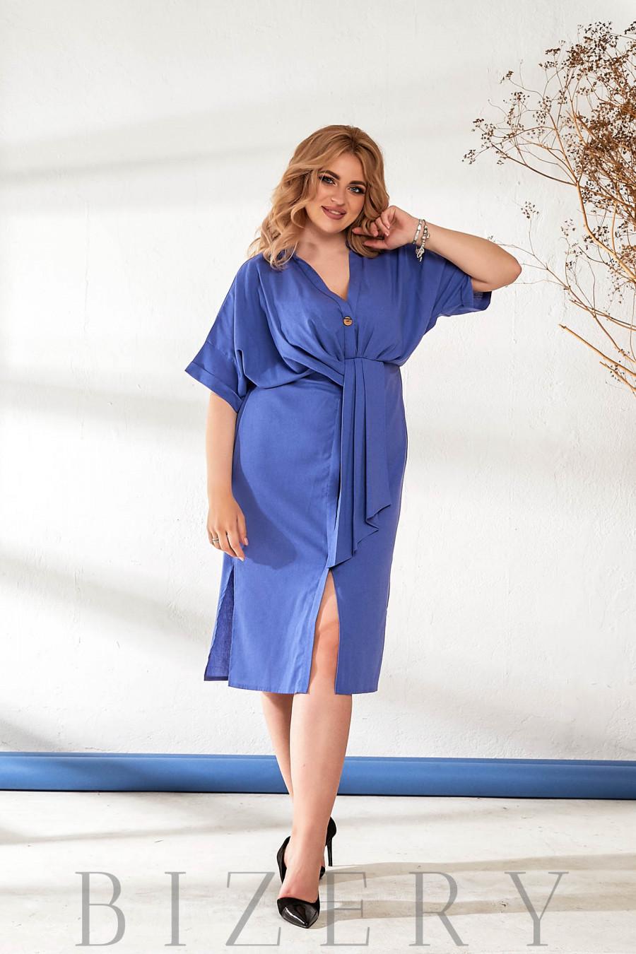 Легкое льняное платье синего цвета В877