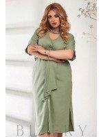 Легкое льняное платье зеленого цвета В878