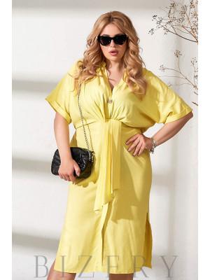 Легкое льняное платье желтого цвета В876