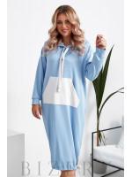 Платье полуспорт из мягкого трикотажа с накладным карманом в нежно-голубом цвете B1039