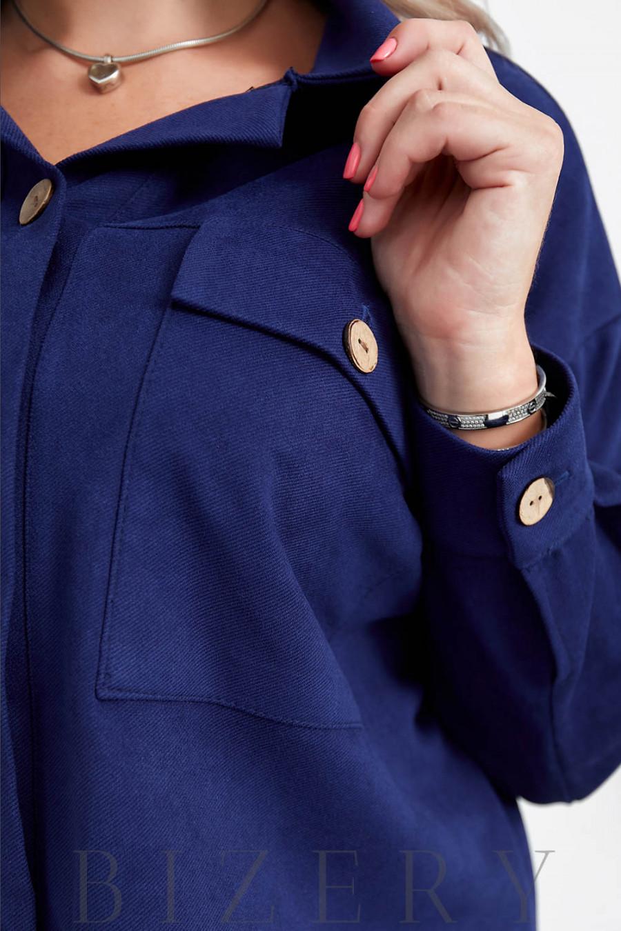 Женский вельветовый костюм в синем цвете B1045