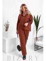 Женский вельветовый костюм в коричневом цвете B1046