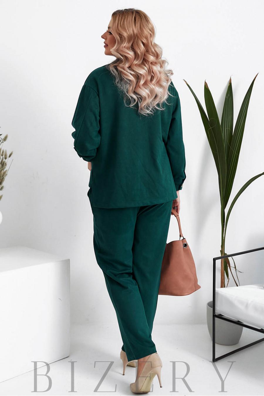 Женский вельветовый костюм в темно-зеленом цвете B1047