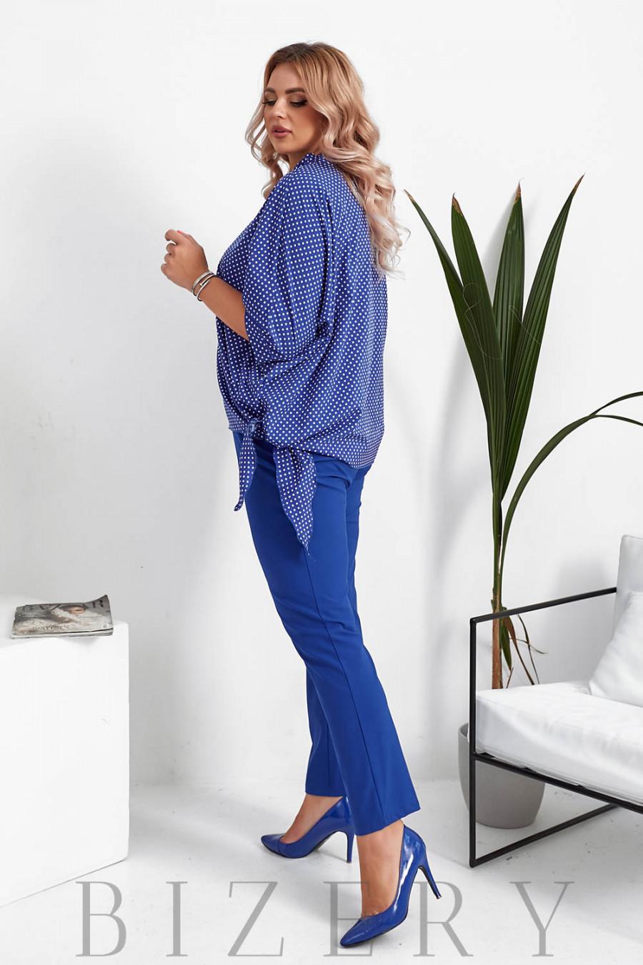 Брючный костюм с блузкой в горошек цвет синий B1057