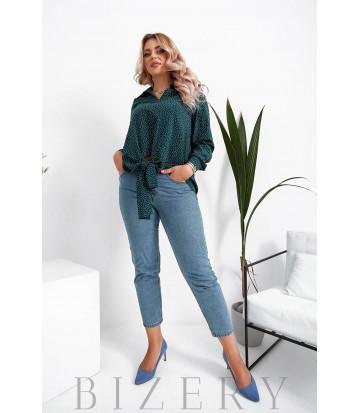 Женская блузка в горошек большого размера в зеленом цвете B1065