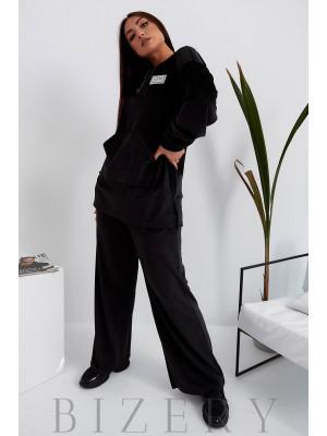 Велюровый костюм в черном цвете B1122