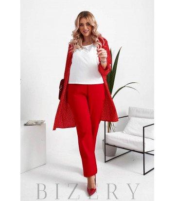 Женский костюм тройка в красном цвете B1052